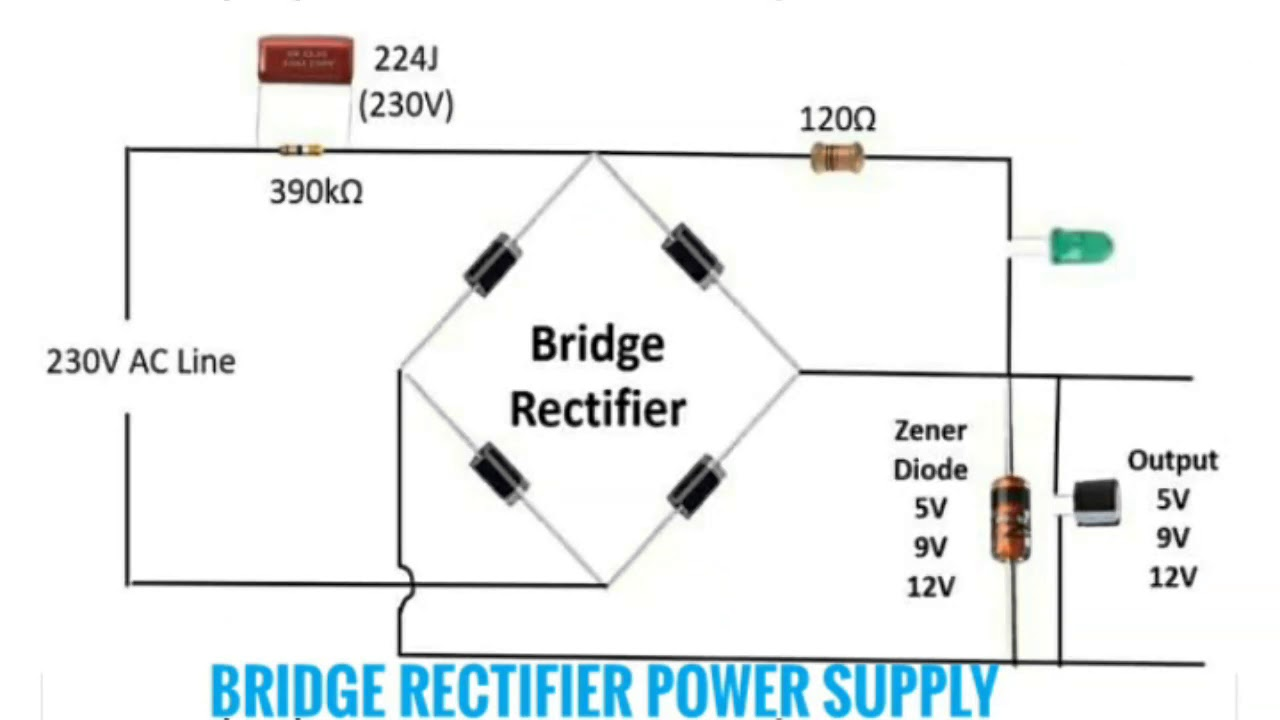 circuit diagram of mini inverter bridge rectifier power supply and star delta connection [ 1280 x 720 Pixel ]