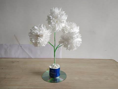 How To Make Beautiful Tissue Paper Flower Tree DIY Paper Craft