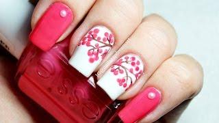 Easy Cherry Blossom Nail Art | Маникюр Сакура для начинающих (роспись ногтей)