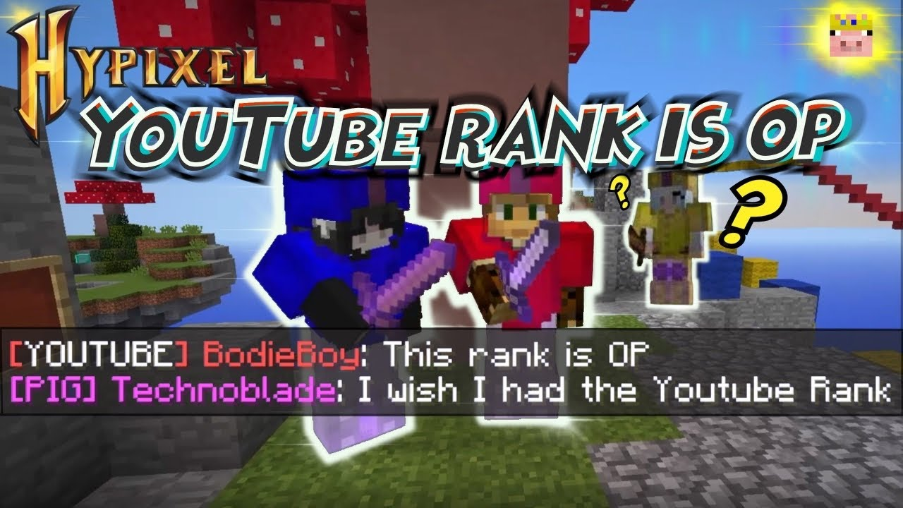 The YouTube Rank on Hypixel is OP [Minecraft Bed Wars]