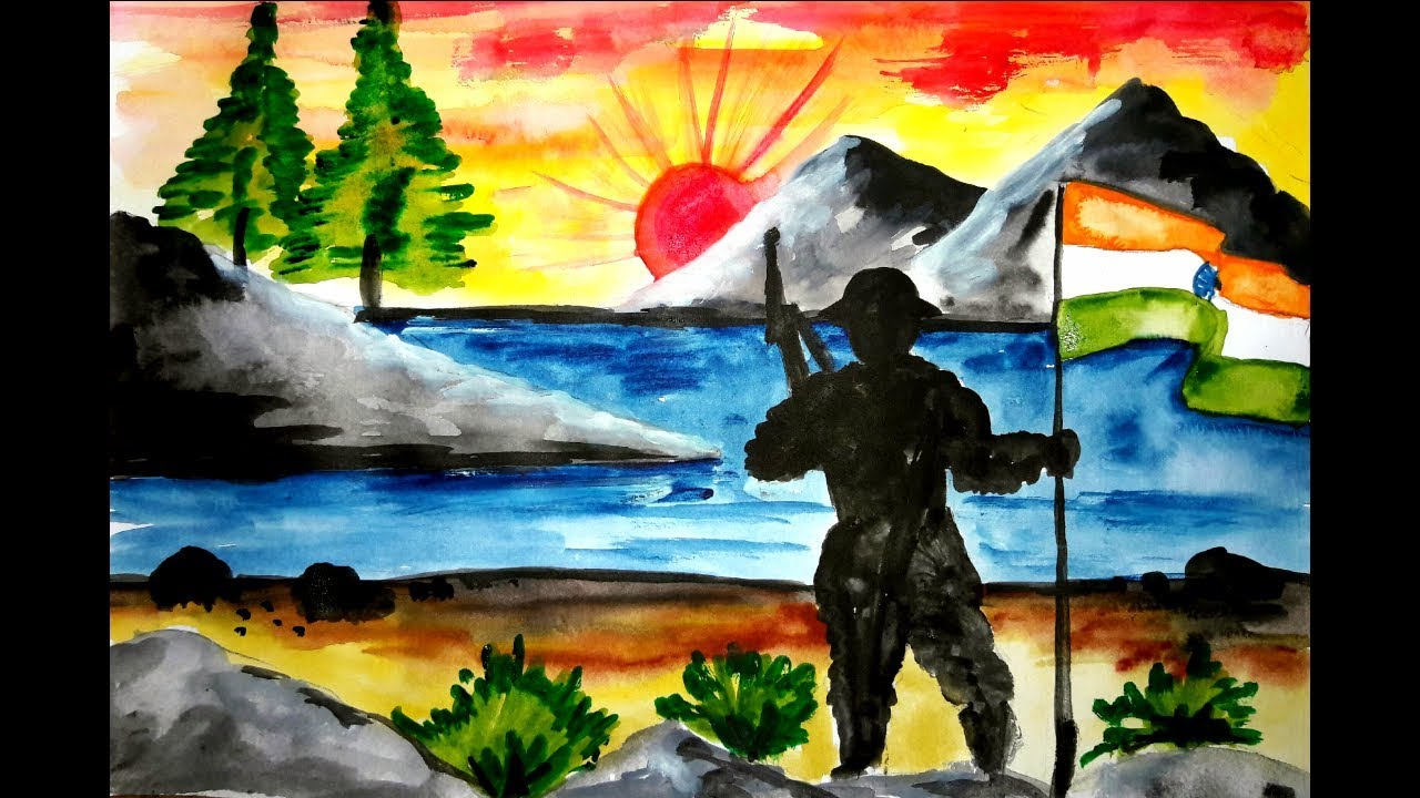 Independence Day Drawing Indian Army With Flag Drawing