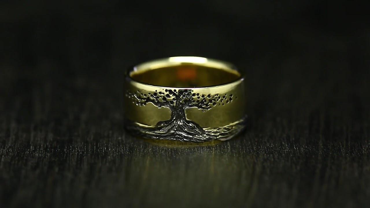 "Кольцо ""Дерево Жизни с корнями"". Желтое золото - YouTube"