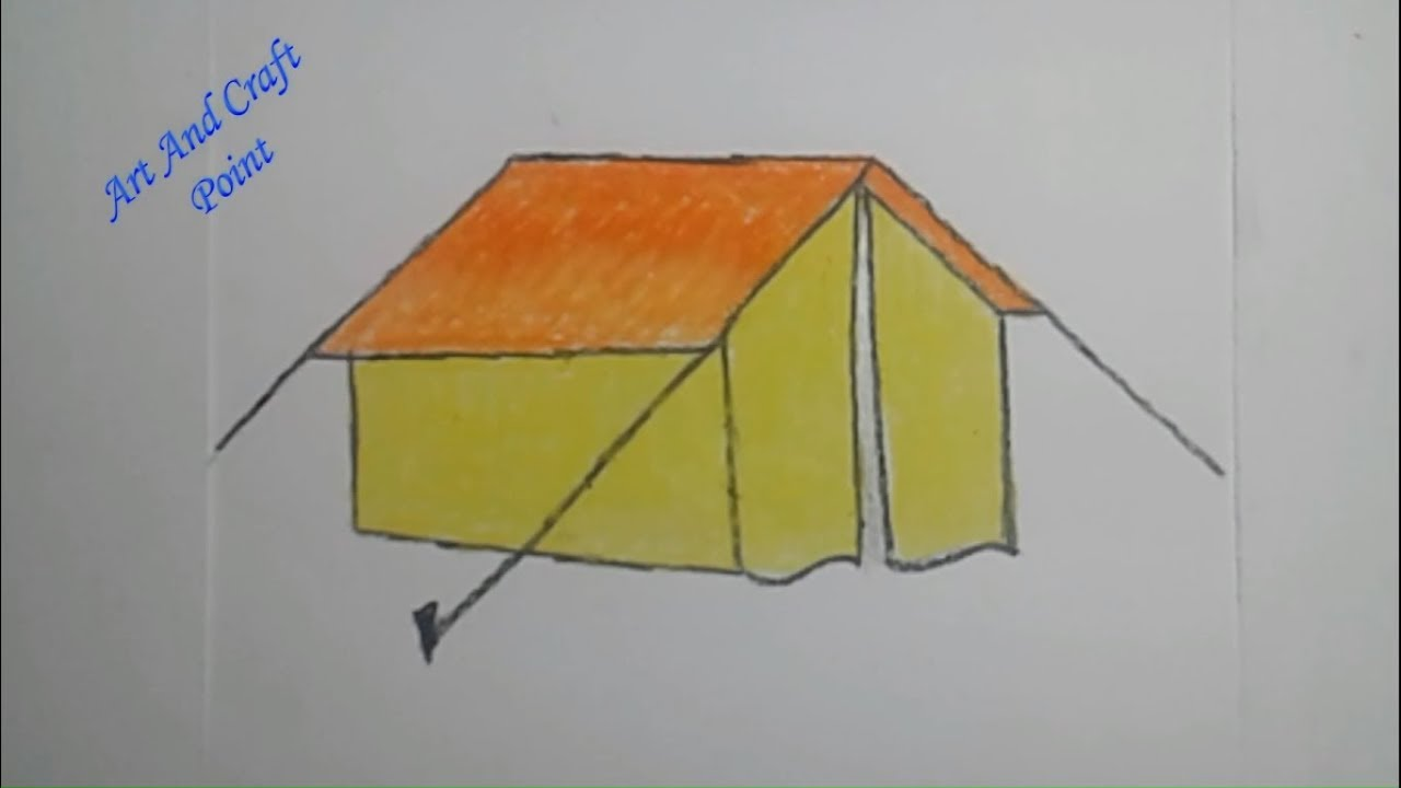 How To Draw Step By Step Simple Pastel Tent For Kids Art And