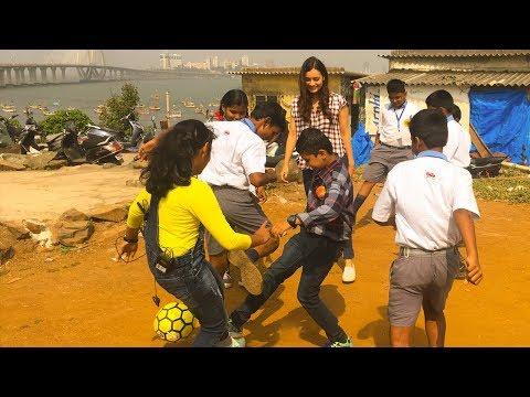 CUTE Diya Mirza Playing Football With Slum Childrens