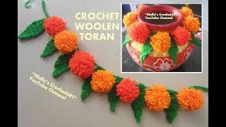 How to Crochet Woolen Toran Door Hanging for Mandir Using Pom Pom & Leaf
