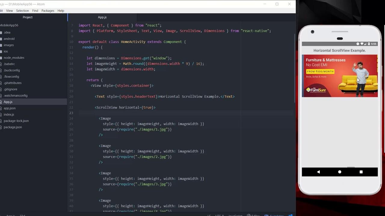 React Native Horizontal ScrollView Example Android | SKPTRICKS