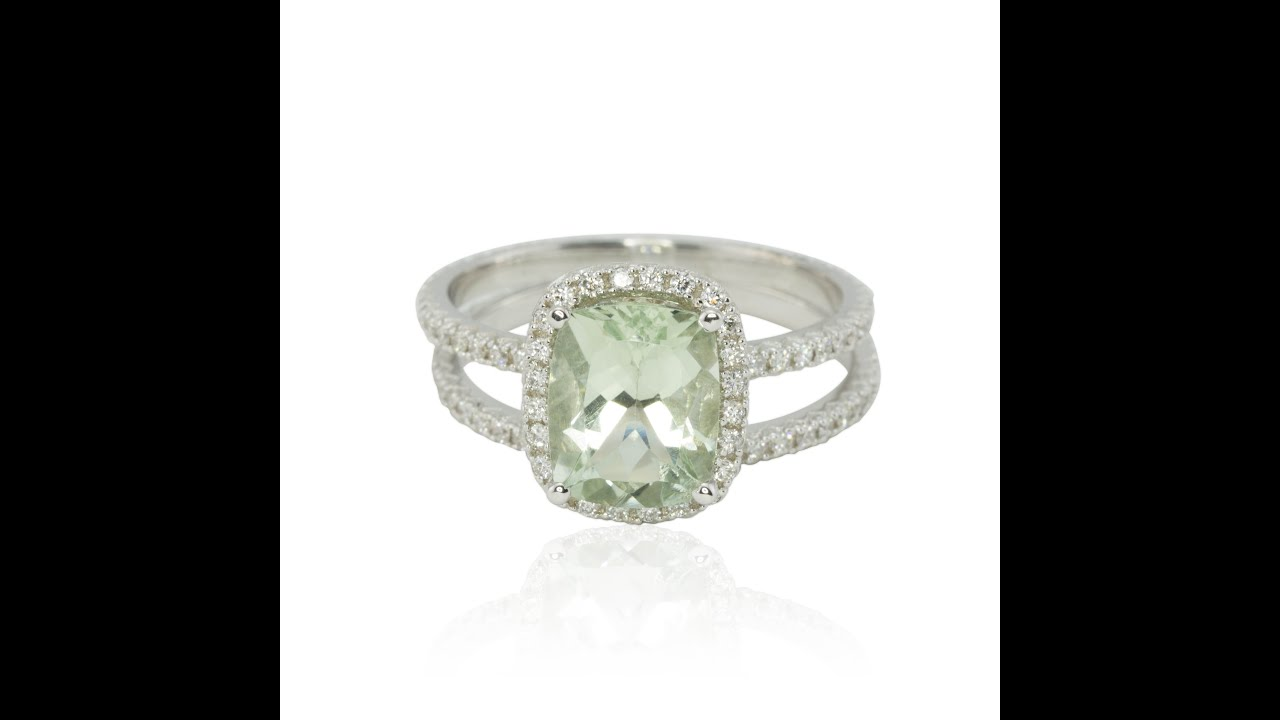 Super Cushion Cut Prasiolite Ring with Diamond Halo and Side Halo LS2537  VR88