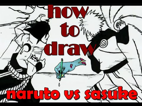 how to draw naruto vs sasuke