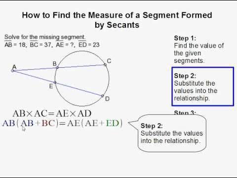How To Find The Measure Of A Segment Formed By Two Secants Youtube