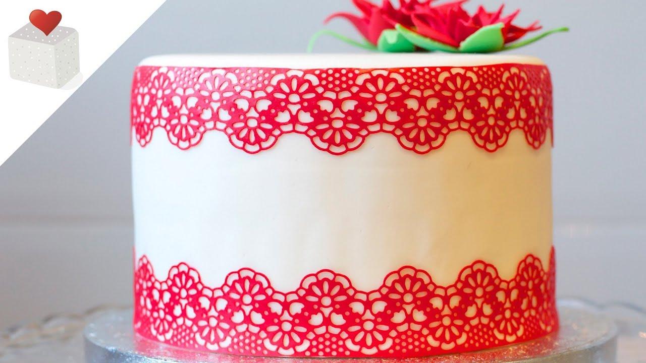 cmo hacer encaje comestible paso a paso decoracin de tartas de fondant por azcar con amor youtube