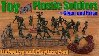 Army Plastic Toy Soldiers Unboxing and Playtime w/ Hulyan + Gigan and Kiryu Action Figures
