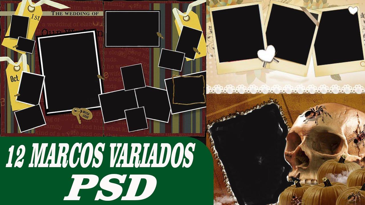 Pack de 12 Marcos Varios Diseños psd │Plantillas para photoshop ...