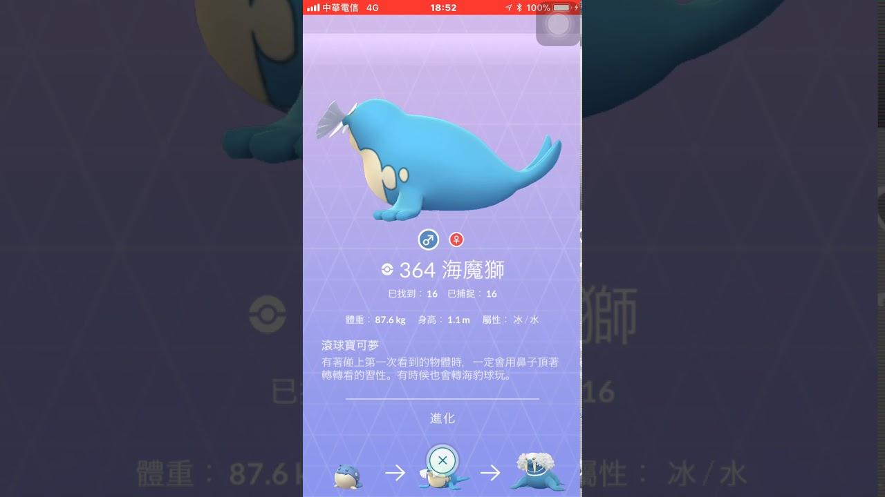 抓到IV100海豹球立馬進化帝牙海獅pokemon go - YouTube