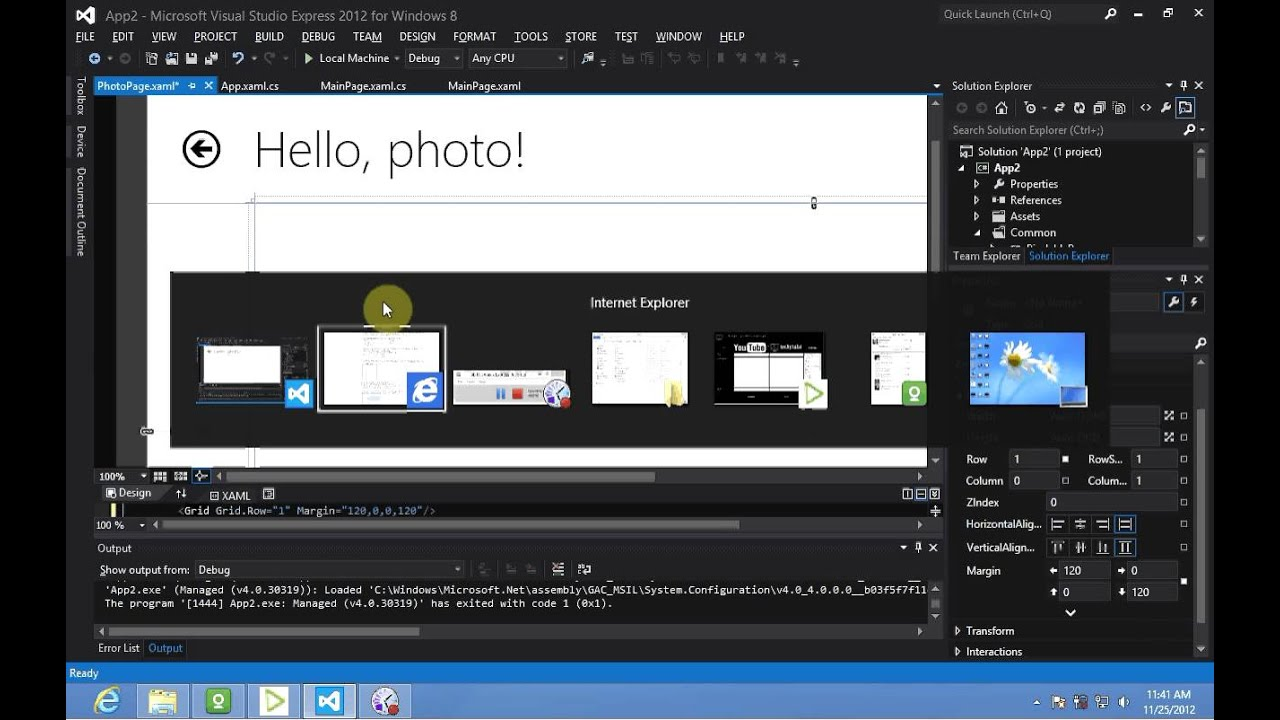 Adding Grids To Windows Windows 8 Development Adding A Xaml Grid Youtube
