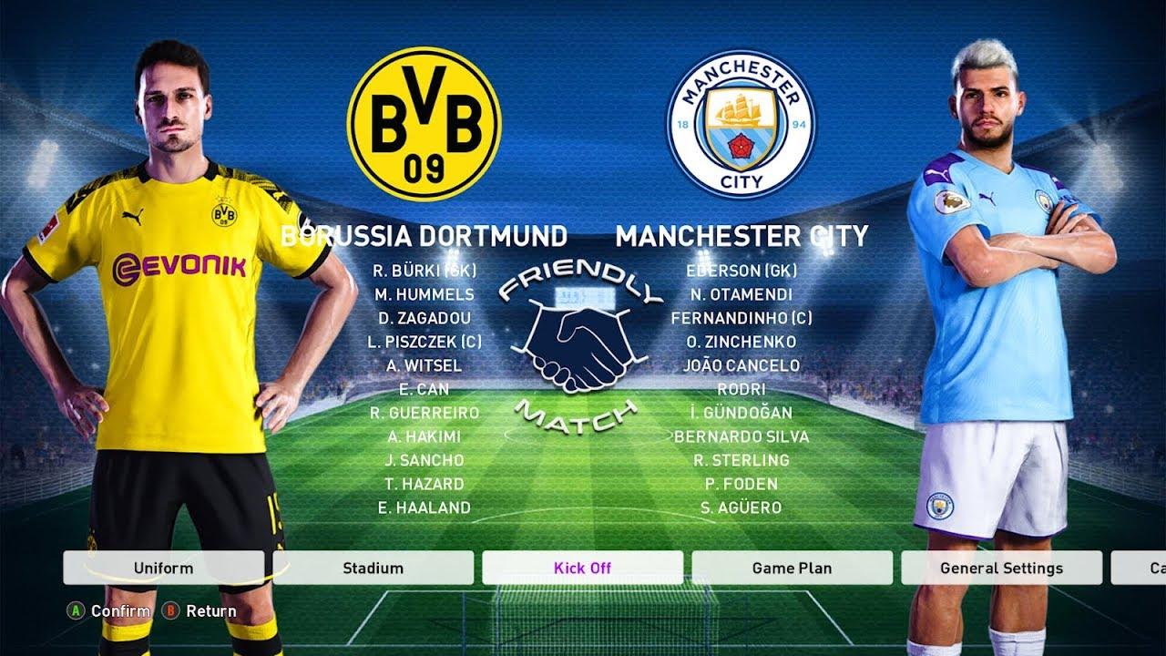 Manchester City Vs Borussia Dortmund Pes 2020 Youtube