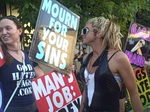 PROTEST lady scoops and GAGA take on Westboro Baptist Church @ MonsterBall