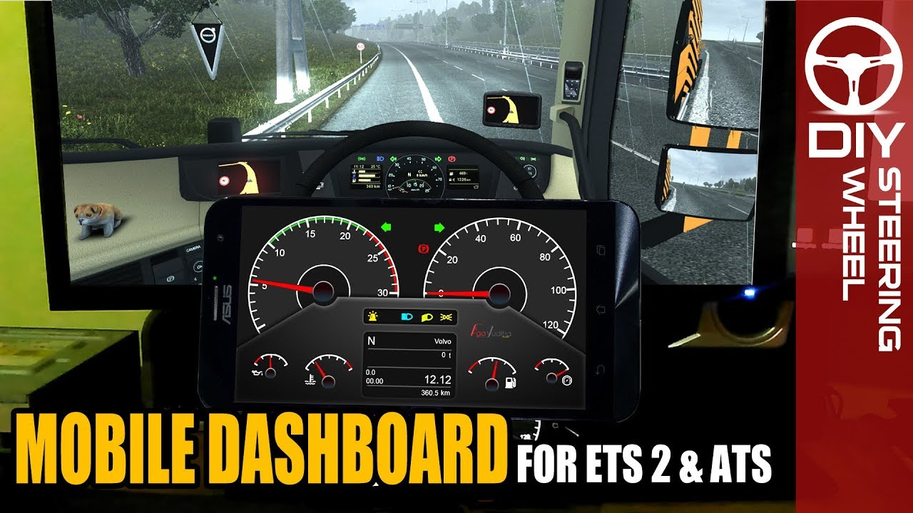 ETS2 ATS Dashboard using Mobile Phone Android - SimHub Tutorial
