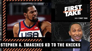 Stephen A. gets hyped about the idea of KD landing with the Knicks