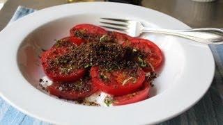 "Tomato & ""Dirt"" Salad - Fresh Tomatoes with Crispy Rye Crumbs"