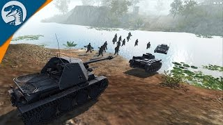 LARGE RIVER CROSSING WITH TANKS & INFANTRY | Men of War: Assault Squad 2 Multiplayer Gameplay