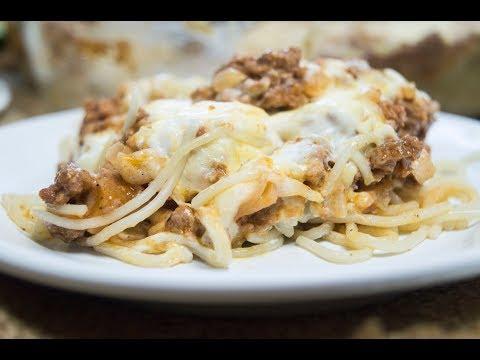 Спагетти запеченные с фаршем и сыром
