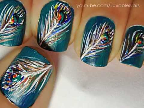 Peacock Feathers Nail Art By Luvablenails Youtube