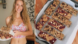 VEGAN GRANOLA BAR RECIPE 2 WAYS | OIL FREE & GLUTEN FREE ( trail mix & peanut butter and jelly)