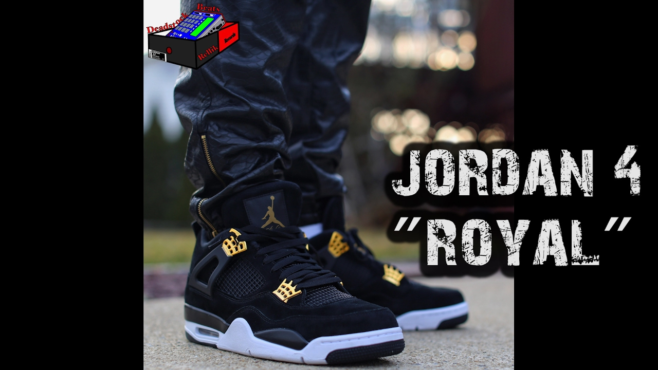ad4c6894c8701a Nike Air Jordan 4 IV - Royal Black White Gold On Feet - YouTube