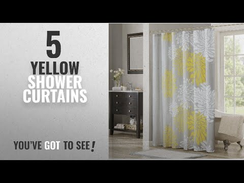 Top 10 Yellow Shower Curtains [2018]: Comfort Spaces – Enya Shower Curtain – Yellow, Grey –