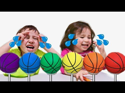Thumbnail: Crying Baby Transforms Basketballs Into Lollipops / Learn Colors with Finger Family Nursery Toddlers