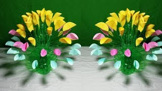 Make Beautiful flower | Empty plastic bottle vase making crafts || Make Wonderful flower with paper