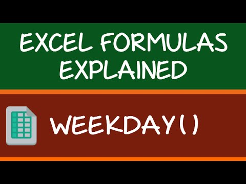 WEEKDAY Formula in Excel