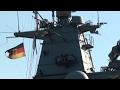 Deutsch Schiff mit gebrochener Flagge in Salerno, Italien - Nave tedesca a Salerno.