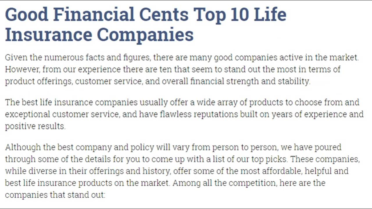 Top Ten Life Insurance Companies >> Best Life Insurance Companies Of 2016 Top 10 Reviews
