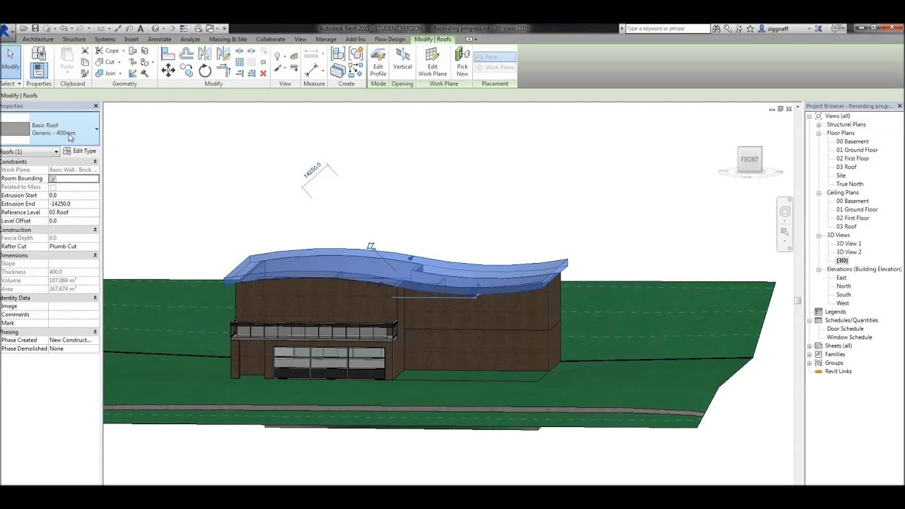 10 Revit Tutorial Roofs Part 2 Roof By Extrusion Youtube