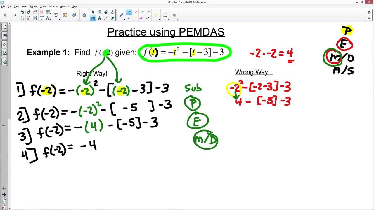 worksheet Pemdas pemdas example youtube example