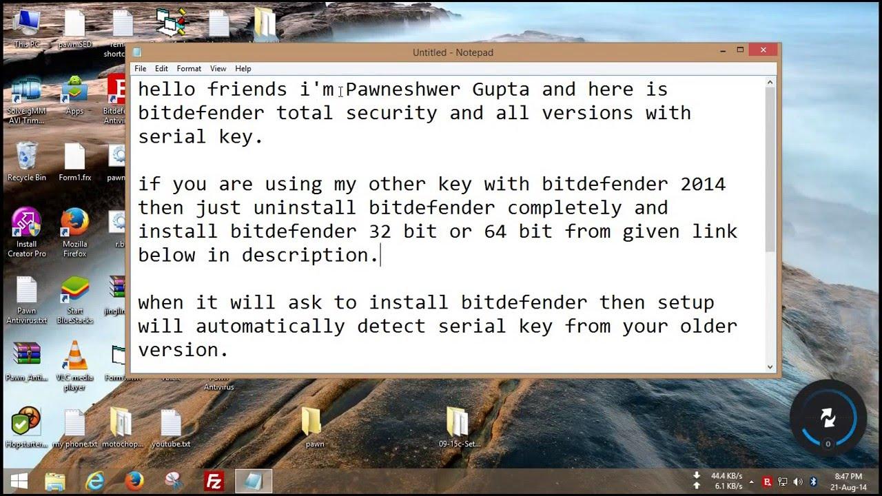 bitdefender serial key 2016