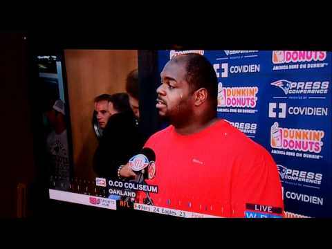 Tom Brady disrupting Vince Wilfork's press conference 10/2/2011