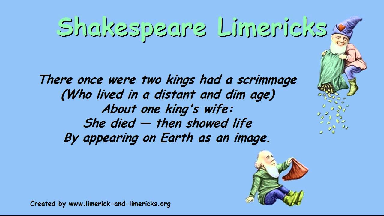 ♣♣♣ Shakespeare Limericks - Example Limerick Poems ♣♣♣