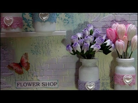 Mixed Media Art Canvas - Spring Time At The Flower Shop