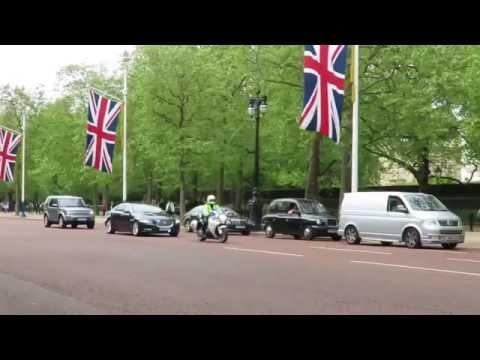 David Cameron motorcade returning to Downing Street.