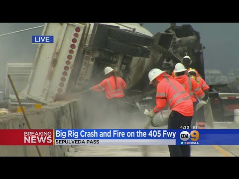3 Injured In Fiery Big Rig Crash On 405 Freeway In Sepulveda Pass