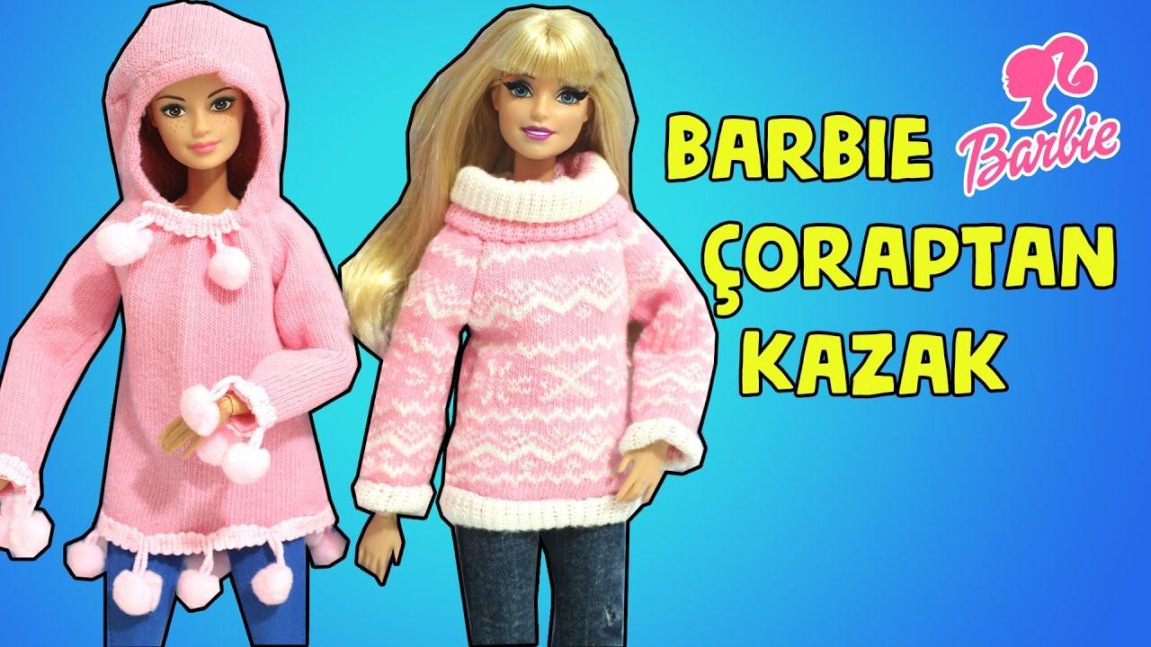 054baced02fba Barbie Kazak Yapımı - DIY - Kendin Yap Çoraptan Kolay Barbie Kıyafetleri -  Bidünya Oyuncak
