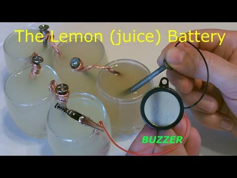 "Lemon Battery - Powers an Electric Buzzer! (and more...) - Homemade ""lemon juice"" Battery - Easy DIY"