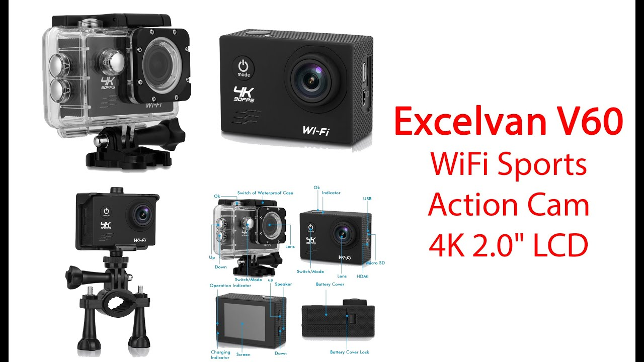 excelvan v60 wifi sports action cam 4k 2 0 lcd screen. Black Bedroom Furniture Sets. Home Design Ideas