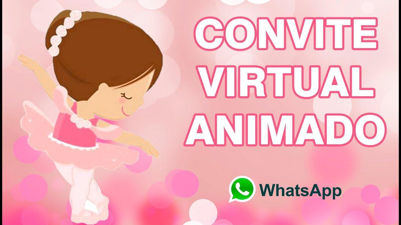 56c2522de6 Convite Animado Bailarina (WhatsApp) Virtual