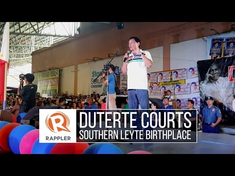 Duterte courts Southern Leyte birthplace