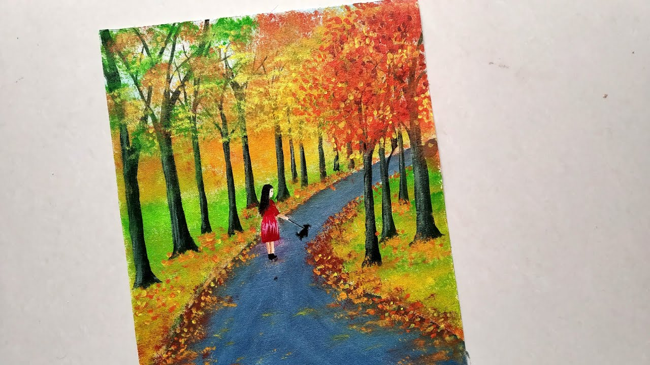 Easy Autumn Landscape Painting Tutorial For Beginners Autumn Forest Step By Step Acrylic Painting Youtube