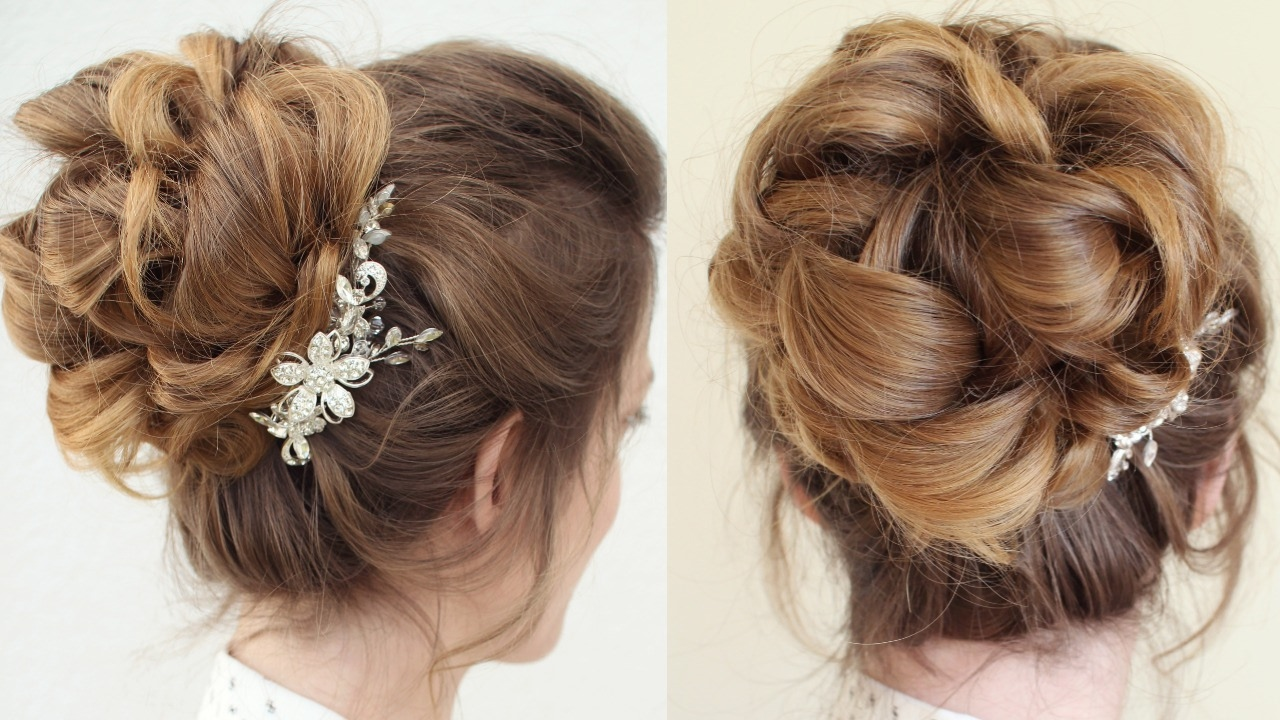 curly bun updo bridal