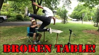 FULL TABLE BODY SLAM (yes, injury warning)